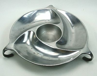 Vintage Mid Century Chromed Metal Serving Snack Bowl Dish Swirl Pattern Chip Dip