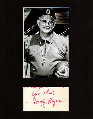 Woody Hayes Autographed Mat Piece! Ohio State Buckeyes Legend! College Football!