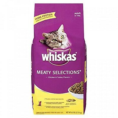 WHISKAS MEATY SELECTIONS Chicken and Turkey Flavors Dry Cat Food 6 Pounds