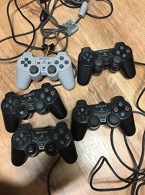 Lot Of 5 PS1 & PS2 Controllers Broken For Parts Or Repair Playstation