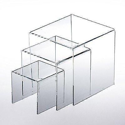 "Adorox Top Quality (1 Set of 3pcs) Clear Acrylic Display Riser (3"", 4"", 5"")"