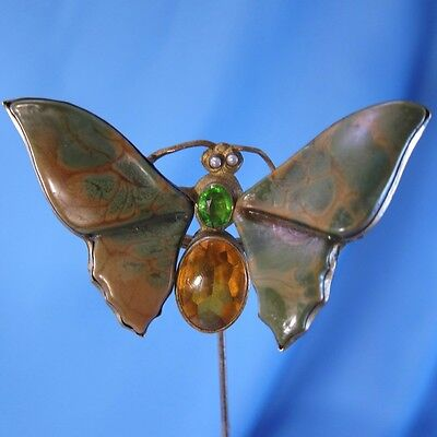 Antique AMAZING Large Butterfly with Mottled Glass Wings, Hat Pin, Hatpin