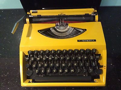 Vintage Yellow ADLER TIPPA Typewriter In Portable Black Carry Case