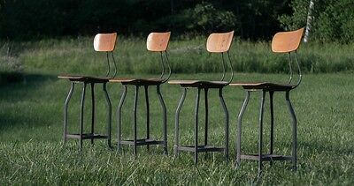 Vintage UHL Art Steel and Bent Wood Drafting Stools by Toledo c. 1930-1940s
