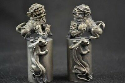 A Pair Of Collectible Decorated Silver Copper Handwork Carved Dragon & Lion Seal
