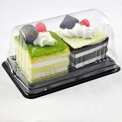 Rectangle Take-out Roll Cakes Dessert Pastries Container Plastic Box Holder