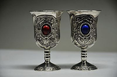 Exquisite Chinese Handmade Miao Silver Inlaid Zircon A Pair Goblet Wine Cups.