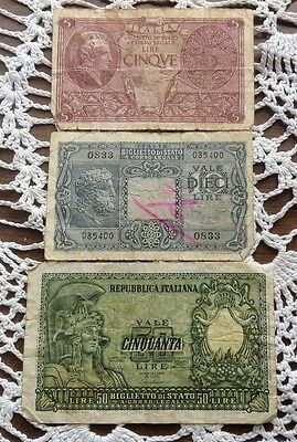 LOT 3 PAPER MONEY   ITALY 5 10 50 Lire 1944 1951 WWII