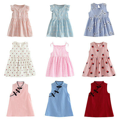 Toddler Girls Summer Princess Dress Kids Baby Party Wedding Sleeveless Dress New