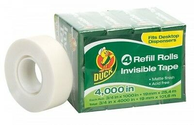Duck Brand Invisible Matte Finish Acetate Tape, 3/4Inch x 1000 Inches, 4 Refill