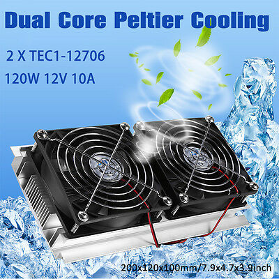 2 x TEC1-12706 Chip 120W Thermoelectric Peltier Refrigeration Cooling System AM
