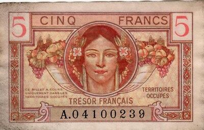 France 5 CINQ Francs 1947 TERRITOIRES OCCUPES  Banknote  A.04100239 (VF)