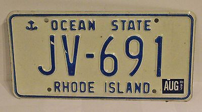 Rhode Island With Ship Anchor License Plate 1997