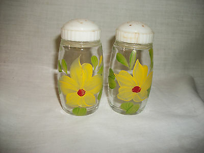 Clear with Yellow  Painted Flower Design Salt & Pepper Shakers