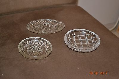 3 Vintage Small Cut Crystal Pin Dishes Diamond Pattern