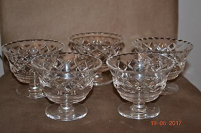 Set Of 4 Vintage Look Cut Glass Sweet Bowls With Diamond Pattern