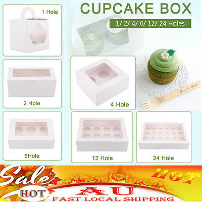 Cupcake Boxes 5/10/20/25 Pk Window Face With Inserts Cake Boxes Boards 5 SIZE AU