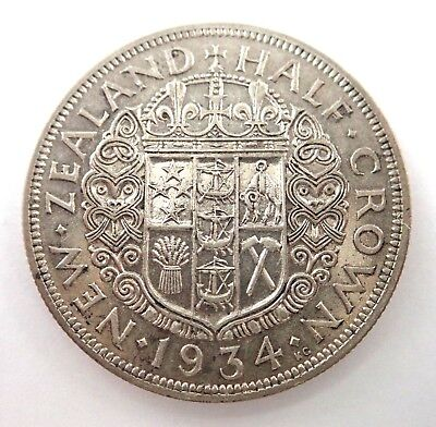 Nz  1934 Half Crown Silver Coin  -  Nice Quality