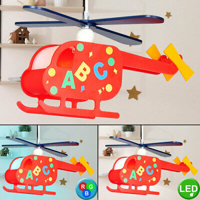 LED children's room pendant dimmable helicopter colorful RGB remote control E27