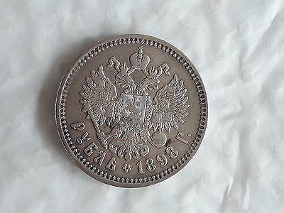Ancienne Piece Russe Rouble 1898 Argent Massif
