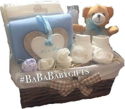 """ITS A BOY""Baby Boy Hamper Gift Basket New Baby Shower New Baby Wicker Gift"