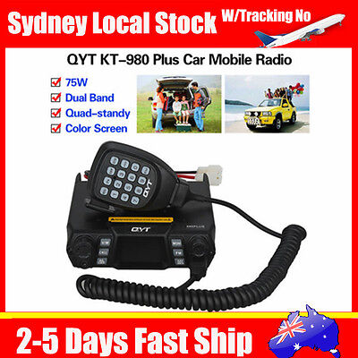 KT-980 Plus VHF/UHF Dual Band Mobile Radio Quad-standy FM Color LCD Monitor+Mic