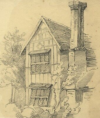 Tudor Cottage Study with Chimney - Original 19th-century graphite drawing
