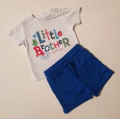 M&Co & NEXT Baby Boys White T-shirt & Green Shorts Outfit 3-6 Months Top Bottoms