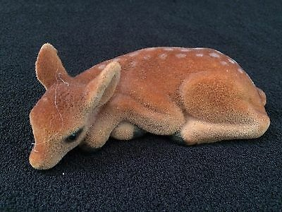 Vintage Fuzzy Flocked Deer Fawn Figurine LAYING DOWN
