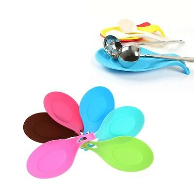Kitchen Silicone Heat Resistant Spoon Fork Mat Rest Utensil Classic Holder