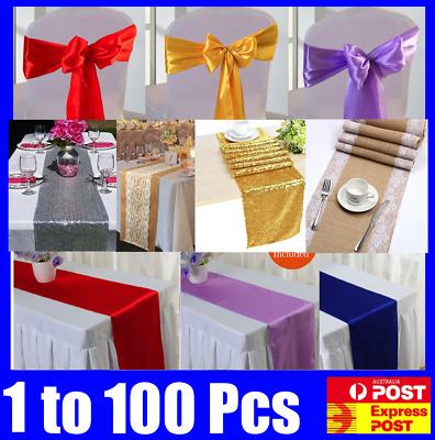 Bulk Satin Sequin Table Runners Chair Sash Covers Wedding Event Decoration