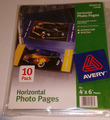 """Avery Holds 4""""x6"""" Horizontal Photo Pages 10 PK 13406 PP46H-10"""