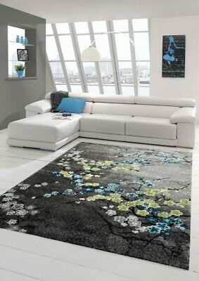 Designer rug Contemporary rug living room carpet floral motif gray turquoise gre