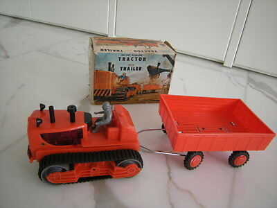 TOMY Japan Tractor caterpillar with Trailer -Raupe mit Anhänger , OVP Plastik,