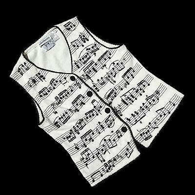 Vintage Musical Note Sweater Vest Beaded Embroidered Black White Michael Simon M