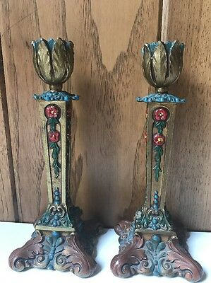 Pair Vintage Arts & Crafts Mission Prairie Style Candle Stick Holders K & Co