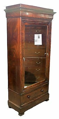Edwardian Antique Mahogany Wardrobe with Double Hinged Mirrored Door and Drawers