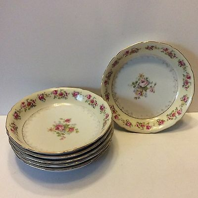Goldcastle china 7 1/2 inch soup bowls set of 6 roses flowers floral free ship