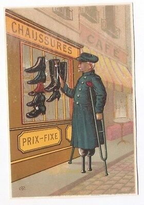 Unijambiste Chaussures bottes  Soldat Invalide Guerre Cannes - Chromo Trade Card