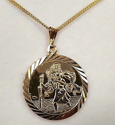 """925 Silver Gold Plated, 20 mm St Christopher Pendant 18"""" GP Sil Chain, Bible Box"""