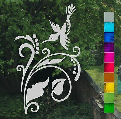 Hummingbird Leaf Berry Scroll Frost Etch or Stained Glass Effect Window Sticker