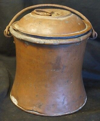 Antique Copper Moonshine Bucket W/ Cast Iron Handle Hand Hammered