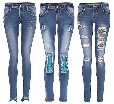 Women Skull Star Stud Sequin Ripped Jeans Ladies Skinny Distressed Lace Up Pants