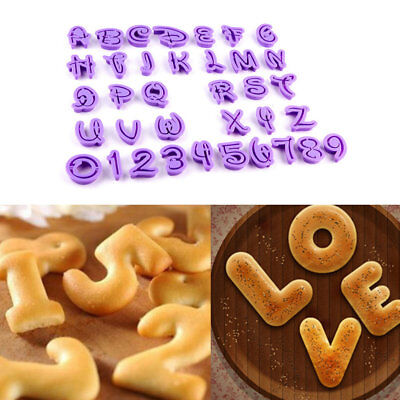 36Pcs Numbers Alphabet Letters Cookies Embosser Cutter Cake Decorating Mould KUS