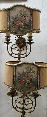 """2 old  Sconces  """"France""""  Brass shade showing a romantic scene Hollywood-Regency"""