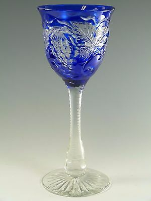STEVENS & WILLIAMS Crystal - Cobalt Overlay Fruiting Vine Hock Wine Glass