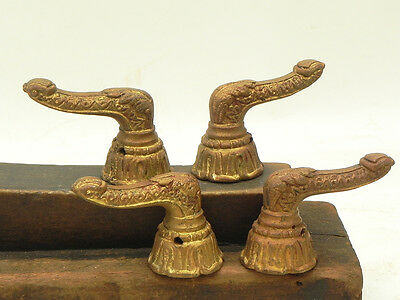 4 Salvaged Brass Vintage Door Cabinet Handles Pulls Knobs Repurpose DIY