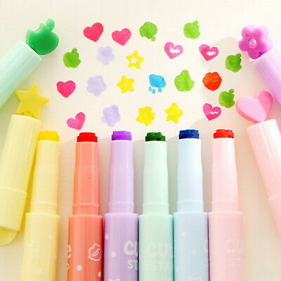 Graceful 3Pcs Cute Candy Color Inks Stamp Pen Creative Marker Highlighters