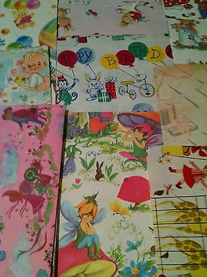 Vintage Lot Sheets 1950's Wrapping Paper Childrens Animals Zoo Fairy Ephemera