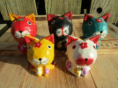 Fair Trade Hand Carved Made Wooden Wood Cat Statues Set Of 5 Sculptures Ornament